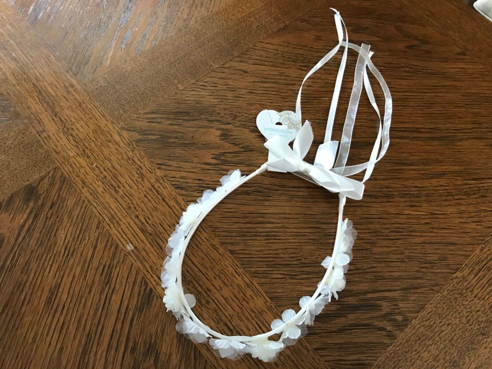 Monsoon Girls' White Bridesmaid or Communion Flower & Ribbon Headdress - New