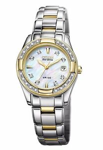 Citizen Eco-Drive Women's EW1824-57D Diamond Mother of Pearl Dial 26mm Watch
