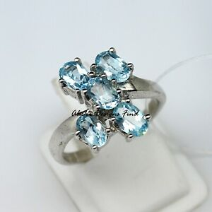 Natural Blue Topaz Faceted Oval Gemstone 925 Solid Silver Women Flower Ring