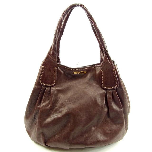 miumiu Tote bag Brown Woman unisex Authentic Used Y5576
