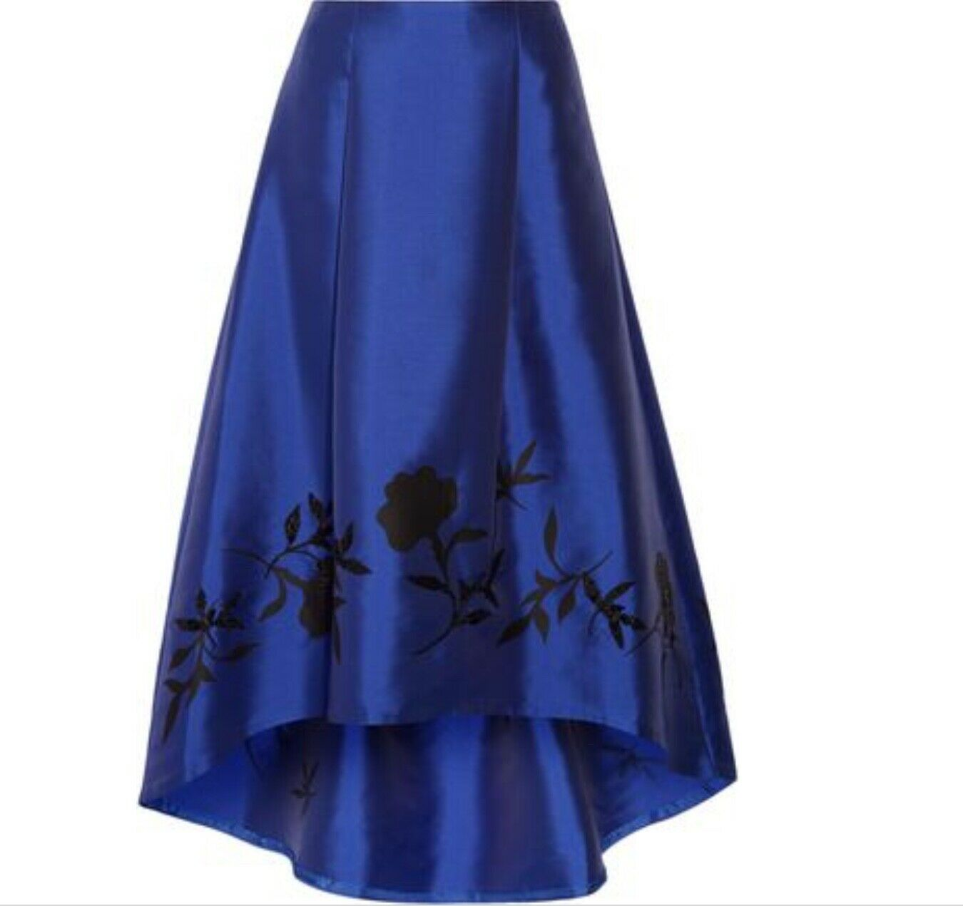 EMBELLISHED-SATIN-TWILL FORMAL MAXI-SKIRT-ROYAL-blueE-6 NWT. 650