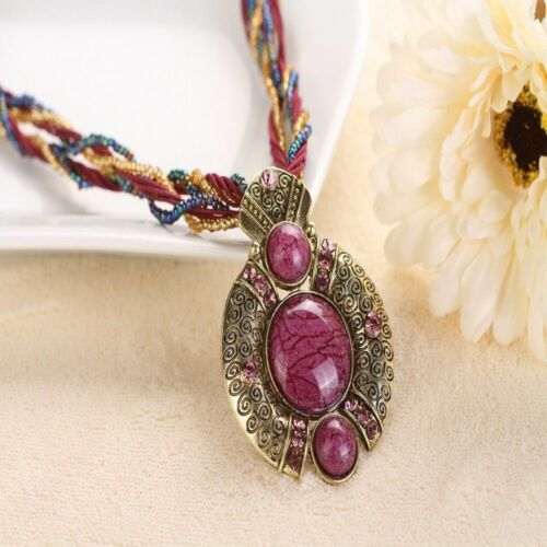 Gem Handmade Multicouche Chaîne Ethnique Bijoux Cristal Pendentif Style Collier