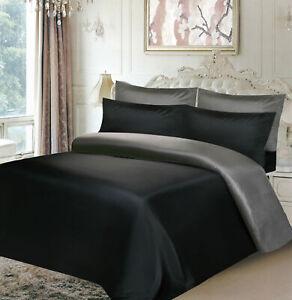 Fitted Sheet /& 4 Pillowcase Black Duvet Set Satin Luxurious 6Pc Duvet Cover