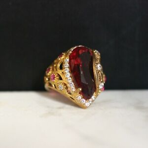 925-Sterling-Silver-Handmade-Authentic-Turkish-Ruby-Ladies-Ring-Size-6