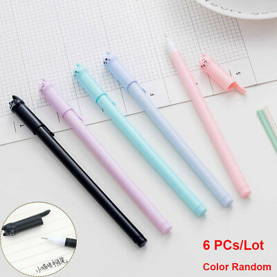 6pcs Cute Cat Gel Pen Black Ink Pen Kawaii Stationery School Office Supplies