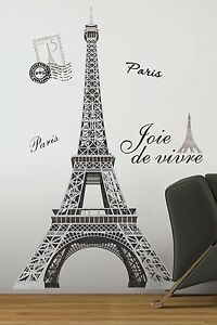 eiffel tower giant 56 removable wall decals mural paris On eiffel tower wall mural ikea