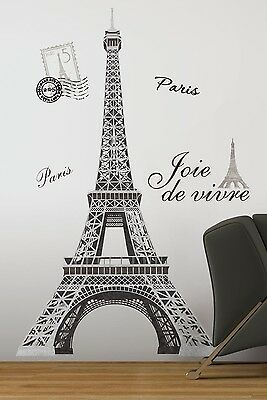 "EIFFEL TOWER Giant 56"" Removable Wall Decals Mural PARIS Room Decor Stickers"