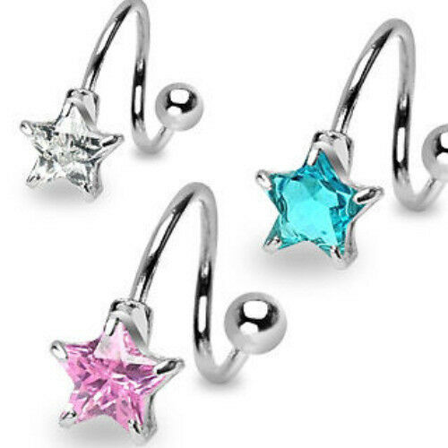 B#194-3pc Star Gem Spiral Belly Rings Navel naval 316L Surgical Steel