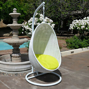 Peachy Details About White Neon Yellow Egg Shape Wicker Rattan Swing Bed Chair Weaved Hanging Hammock Machost Co Dining Chair Design Ideas Machostcouk