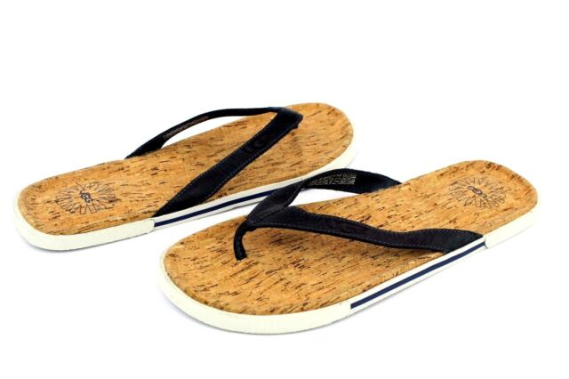 70ed03656093b UGG Bennison II Leather Cork Men s Flip Flops Thongs Navy Blue Size 13 US