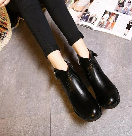 Stivali stivaletti bassi scarpe basso 3.5 cm cm cm nero eleganti simil pelle 9055 74a668