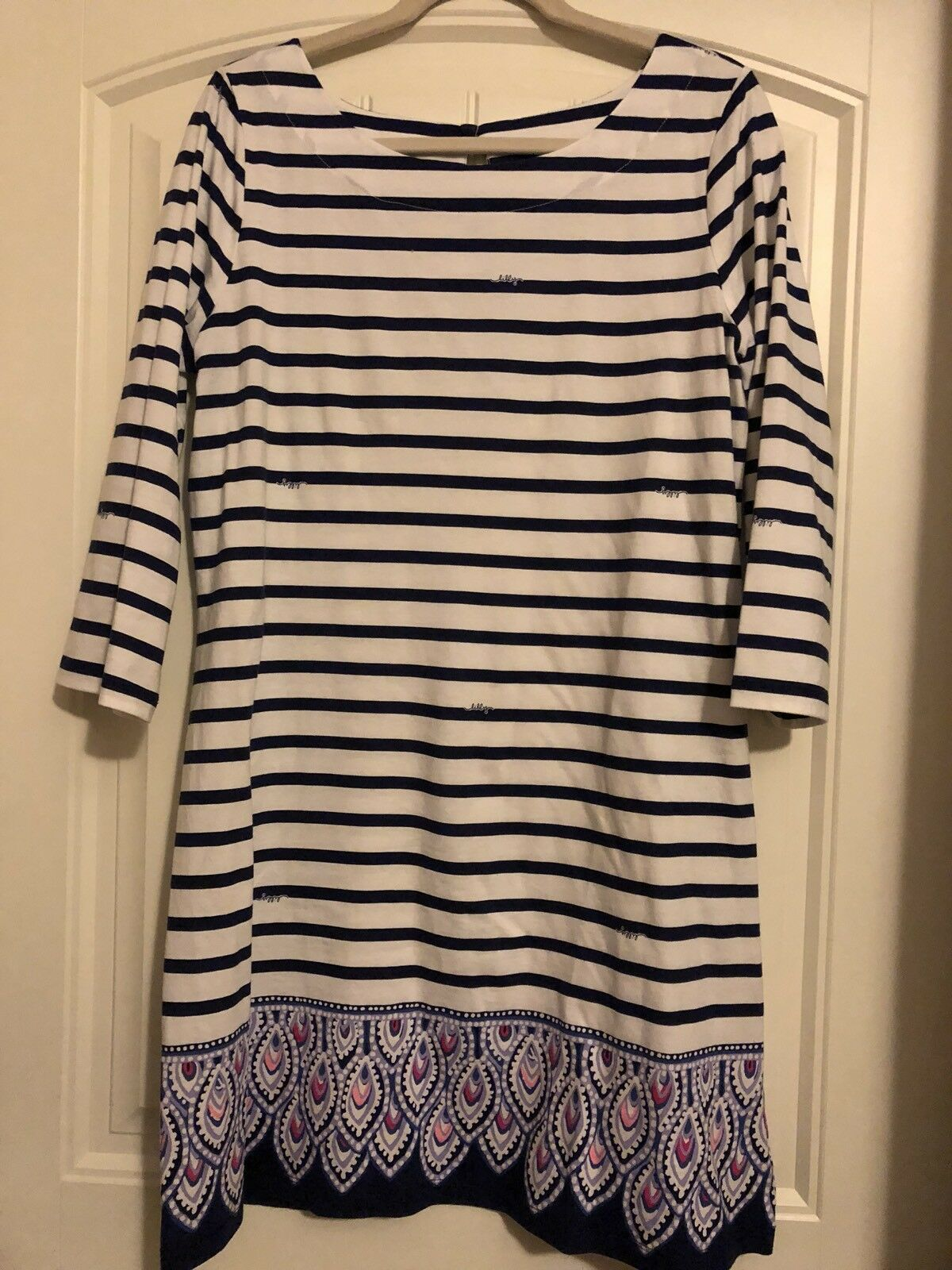 Lilly Pulitzer Bay Dress Serene Stripe Engineerot L