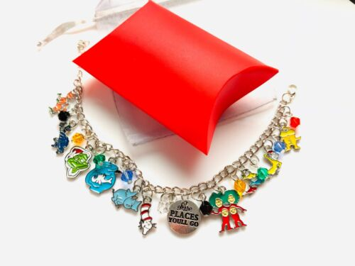 Dr Seuss Universal Charm Bracelet Cat in the Hat Thing 1 /& 2 Grinch Horton Gift