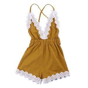 Uk Infant Baby Girls Rainbow Striped Strappy Lace Jumpsuit Romper Dress Outfits High Quality Materials Clothing, Shoes & Accessories