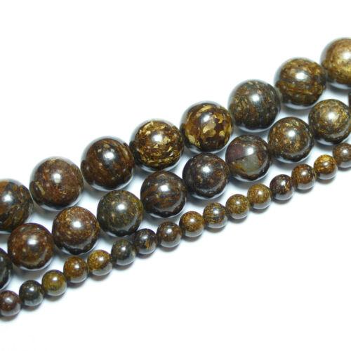1 Strang Bacatus Pierres Précieuses #4254 Bronzit perle boule marron 4-14 mm