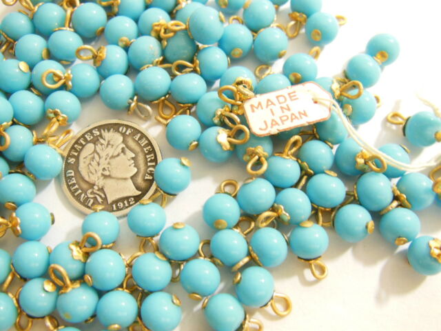 Turquoise 6mm Vintage Japanese Brass Eye Pin Bead Charms 12 Pieces
