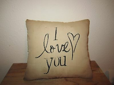 Primitive Stenciled Pillow - I love you - heart - Valentine's Day