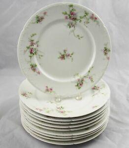 10-Charles-Field-Haviland-GDA-Limoges-Dinner-Plates-Pink-Flowers-9-3-4-034-France