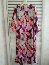 NEW N NATORI MAGENTA IMPRESSIONS SATIN V-NECK CAFTAN SZ M MEDIUM