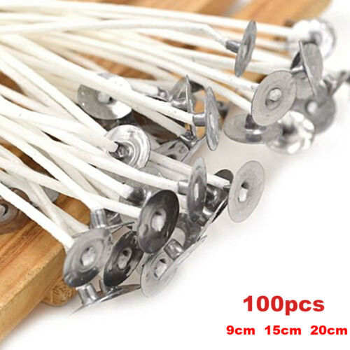 100Pcs Candle Wicks Cotton Core Pre Waxed With Sustainers For Candle-Making