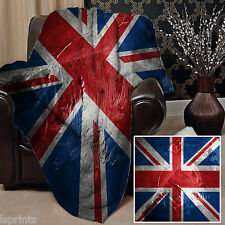 UNION JACK GRUNGE DESIGN SOFT FLEECE BLANKET COVER THROW BLANKET BED L&SPRINTS