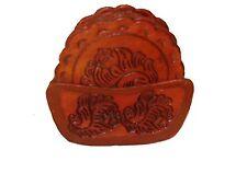 #456 Top Grain Saddle Leather Coaster Set & Tray Hand Tooled Western Bar 8 PC