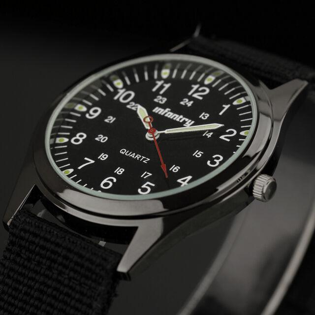 INFANTRY Mens Luminous Quartz Wrist Watch Analog Military Army Sport Black Nylon