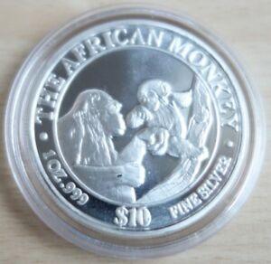 Somalia-10-dollars-1999-mono-African-monkey-1-Oz-plata