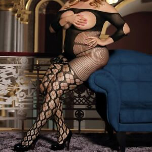 3159-Black-open-gusset-sleeved-garter-styled-body-stocking-bodysuit-XL-12-16
