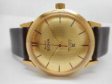 hmt sona super slim hand winding men's mechanical gold plated india watch run,.
