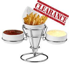 Liquidazione francese Fry PORCELLANA Chip CONO FINGER FOOD Chrome filo STAND 2 concavo