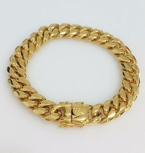 Details About Men 18k Yellow Gold Stainless Steel Box Clasp 12mm Miami Cuban Link Bracelet