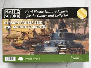PLASTIC SOLDIER 15 MM WW II GERMAN 38(T)  X 5 TANKS  BRAND NEW