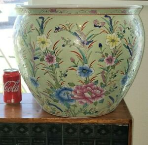 Vtg-Large-28-lb-Asian-Chinese-Floral-Koi-Fish-Bowl-Vase-Planter-Jardiniere