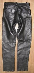 034-FINESMO-034-Men-039-s-Leather-Jeans-Motorcycle-Trousers-IN-Black-Approx-W32-034