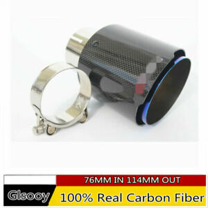 100-Real-Carbon-Fiber-Car-Universal-Exhaust-Muffler-Pipe-Tip-76MM-IN-114MM-OUT-amp