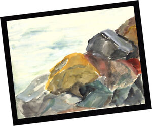 Rincon-Rocks-Ventura-2014-Contemporary-Art-PAINTING-SIGNED-seascape-watercolor