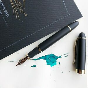 JINHAO-X450-Matte-Black-18k-Gold-Plated-Trim-Fountain-Pen-Fine-Nib