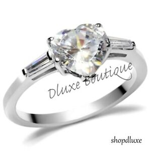 1-95-Ct-Heart-Shaped-Stainless-Steel-CZ-Engagement-Ring-Band-Women-039-s-Size-5-10