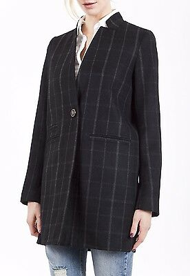 Next Stripe Check Collarless Black Smart Casual Winter Coat Jacket Size 8 - 20