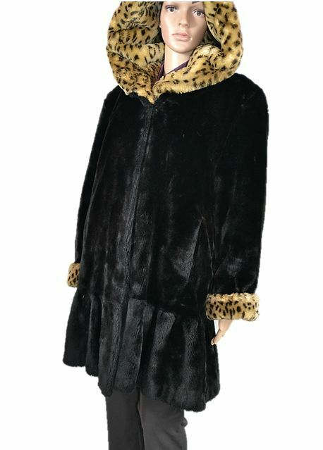 Mujeres Vintage Diseñador Estilo De Piel  Sintética Terciopelo Abrigo Con Capucha Victoriano Negro de origen animal S91  ventas de salida
