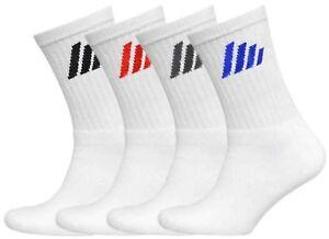 12 Pairs Mens Plain White Sports Socks, Stripe Logo, Comfort Toe Seam, Size 6-11