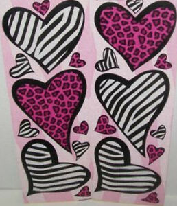 Image is loading ANIMAL-PRINT-HEARTS-wall-stickers-20-decals-leopard-