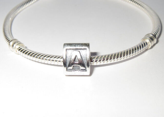 1 x Sterling Silver Alphabet Charm Bead Triangle Initial Letter For Bracelet New