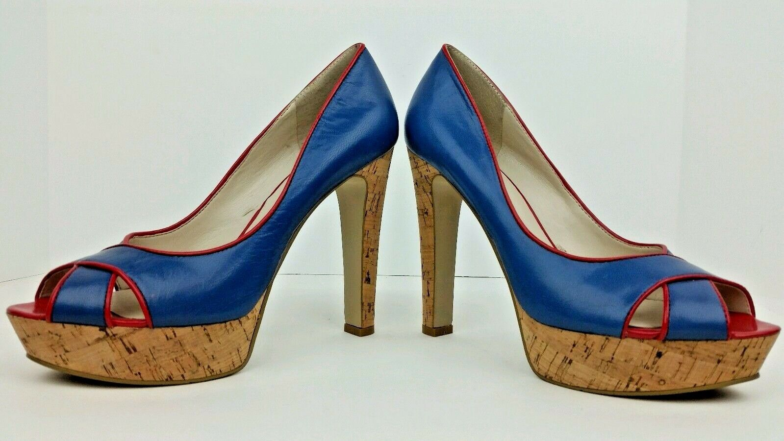 Nine West Womens Sz 8M Colourcode bluee Red Open Toe Platform Cork Pump Stilettos