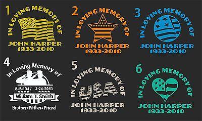 IN LOVING MEMORY CAR  DECAL FLAG THEME.......PICK YOUR STYLE &  COLOR