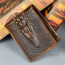Crocodiles Genuine Leather Long Men Wallet Cowhide Travel Cell Phone Purse Brown