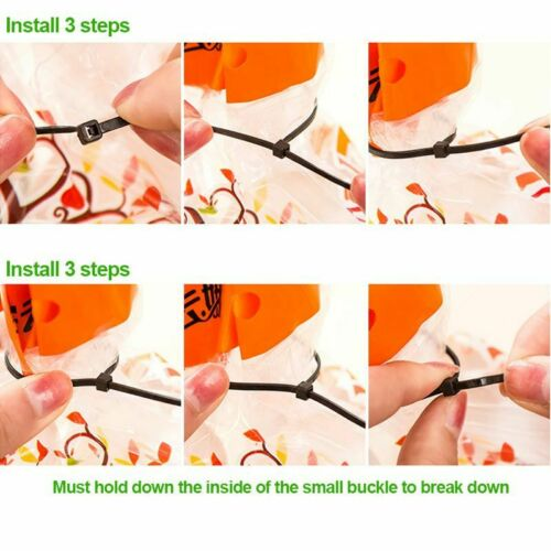 Ties Cable Zip Plastic Nylon Wrap Wire Self Locking Heavy Duty Cord Pocket Multi