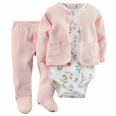 Carters 3 6 Months Floral Cardigan Pants Set Baby Girl Clothes Cotton Pink