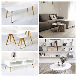 Scandinavian White Grey Retro Furniture Side Coffee Nest Tables